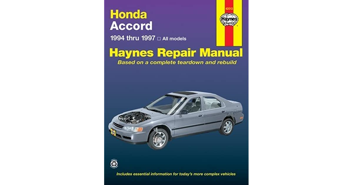 Honda accord automotive repair manual models covered for Honda car repair