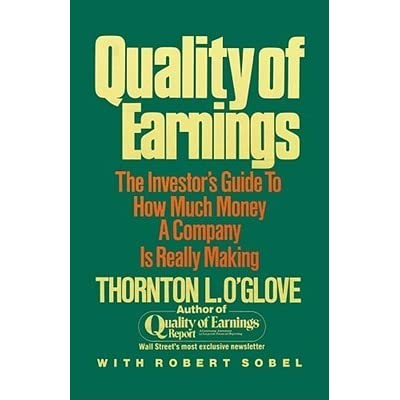 quality of earning A good quality of earnings model can provide you with excellent insight into a company and can help guide you to a great investment and away from something bad my model is derived from the work.