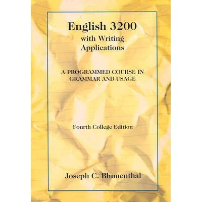 English 3200 with writing applications a programmed course in grammar and usage