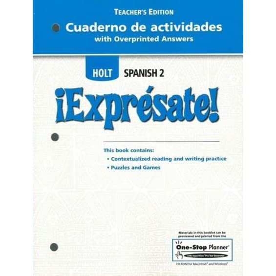 Worksheets Holt Spanish 2 Workbook Answer Key cuaderno de actividades with overprinted answers teachers edition holt spanish 2 expresate by rinehart and winston