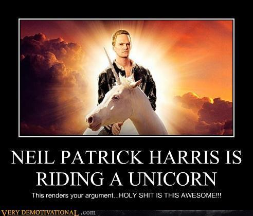 Neil Patrick Harris riding a unicorn
