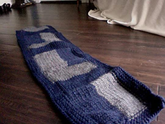 navy blue and grey blocked scarf