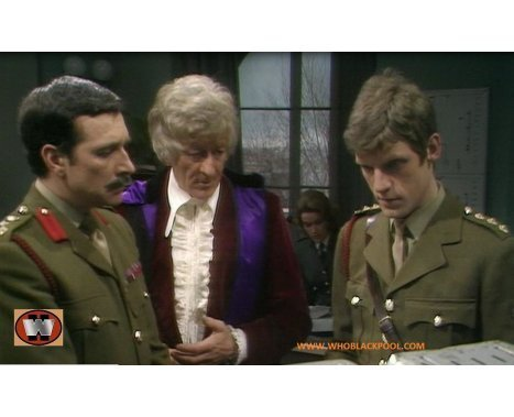 The Third Doctor, Brigadier Lethbridge-Stewart and Mike Yates