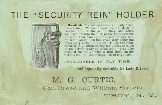 The security rein holder, for carriages, vintage advertisement