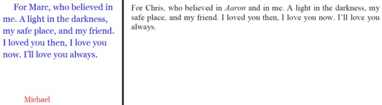 My dedicaton to my college boyfriend Chris who, though straight, read Aaron and supported me through its writing.