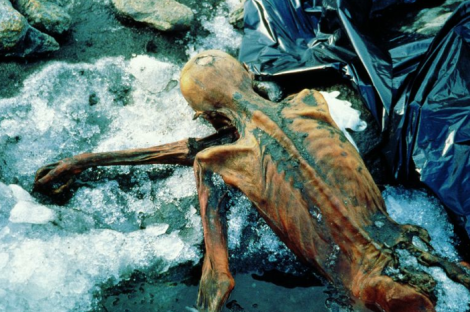 Otzi's remains frozen in glacial ice
