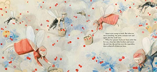 Spread from Migrant, depicting seasonal labourers picking fruit like busy bees