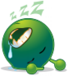 smiley green alien deep sleep