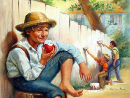 In Huck Finn, What shows how Tom is more immature than huck?