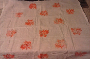 Coral stenciled bar towel.