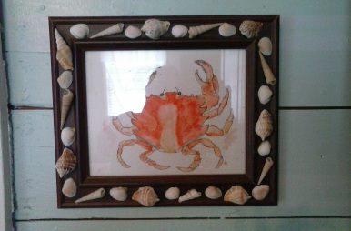 Get your beach framed art noticed with seashells.