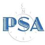 Logo for Partners for Secular Activism. The letters PSA in blue, in an art decco font, over a light grey watermark of a compass pointing near to north, all on a white backround.