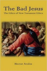 Cover of Doctor Hector Avalos's book Bad Jesus: The Ethics of the New Testament, yellow background, with a frame including the key focus of a painting depicting Jesus whipping people in the temple square.