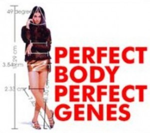 Graphic from a pseudoscientific website using EvoPsych to argue nonsense about the thermodynamics of human marriage bonding, showing a pretty girl in a short skirt in flirtatious pose, with ratio lines showing the perfect ratios of her body parts, with the words Perfect Body, Perfect Genes. From http://www.eoht.info/page/Evolutionary+psychology