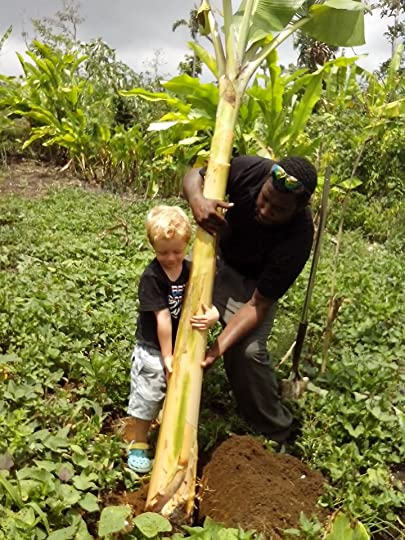 Harry and Dominic planting banana trees