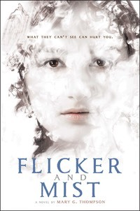 Flicker and Mist cover image. Girl being enveloped in mist.