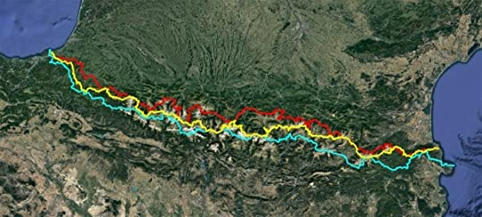 Map of GR 10 (red), GR11 (blue) and HRP (yellow) in the Pyrenees, as I walked them. As the crow flies the distance from the Atlantic to the Mediterranean is around 420km. For walkers it is about twice that.