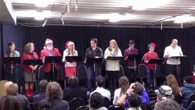 North Pole High Musical Staged Reading starring (left to right) Andrea Fantauzzi as Vixen, Judy Nazemetz as Mrs. Claus, John Eddings as Santa Claus, James Giusti as Rudy Tutti, Monica Allan as Snowflake, Frankie Rodriguez as Silentnight, Samuel Thacker as Tinsel, and David Buckland as Mr. Polar Bear.