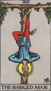The Hanged Man as depicted in the Rider-Waite-Smith Tarot Deck, originally published in 1910.