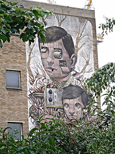 Dalston Curve Garden - mural on a nearby building