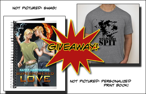 Giveaway! Prizes. This image shows a notebook with the superpowered love cover on it, a willoughby spit t-shirt, and also offers swag and a personalized print book.