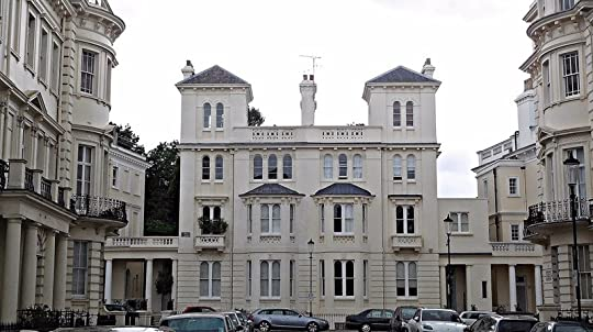 Stanley Crescent seen from Stanley Gardens - approximate position of the public entrance to the Hippodrome