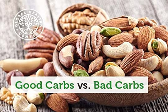 Good carbs vs bad carbs. Image with a bowl of nuts.