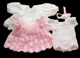 Snowy Rose Dress Baby Crochet Pattern 32 USA  by  ShiFios Patterns