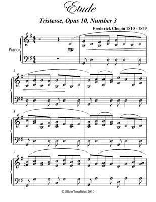 Etude Tristesse Opus 10 Number 3 Elementary Piano Sheet Music  by  Frederick Chopin