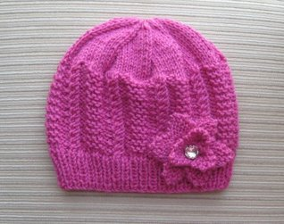 Knitting Pattern Hot Rose Hat with Textured Panels in Size Adult  by  Yelena Chen