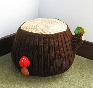 Tree Stump Ottoman Knit Pattern Amy Gaines