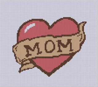 Mom Heart Cross Stitch Pattern  by  NOT A BOOK
