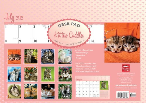 Kitten Cuddles 2013 Academic Desk Pad  by  NOT A BOOK