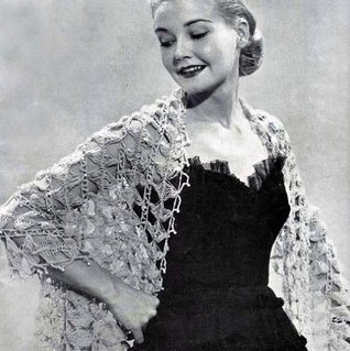 Crocheted Hairpin Lace Stole Shawl with Pearls Crochet Pattern Unknown