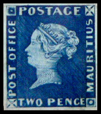 Blue Mauritius Post Office Stamp