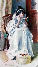 Austen-era? illustration of a woman reading (red shoes!)