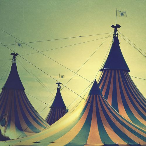 Love the idea of a black and white photo of vintage circus tents