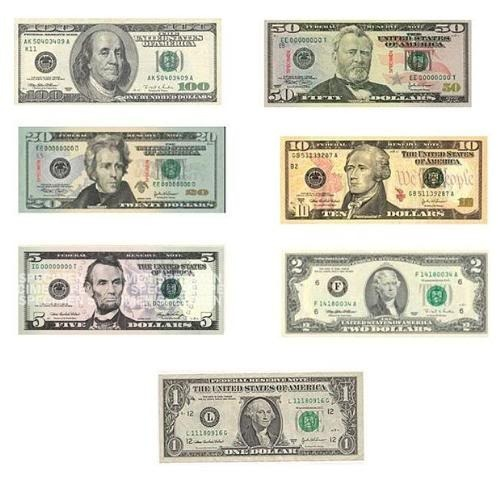 where's Adams - a picture showing all US paper denominations - there are none that feature Adams