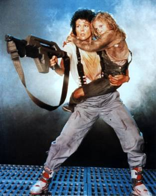 Ellen Ripley carrying Newt and battling the mother Alien