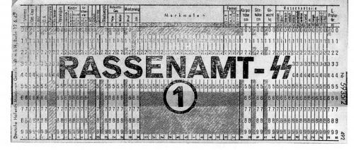 Third Reich punch card from Rassanampt- the Bureau of Race
