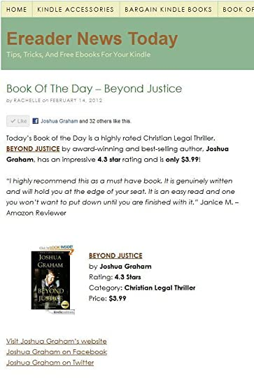 BEYOND JUSTICE is Ereader News Today's Book of the Day