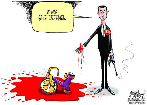 Political Cartoon Assad With Blood and Trike