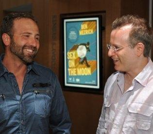 Thad Roberts, one-time moon rock thief, has a laugh with author Ben Mezrick (Christopher Evans)