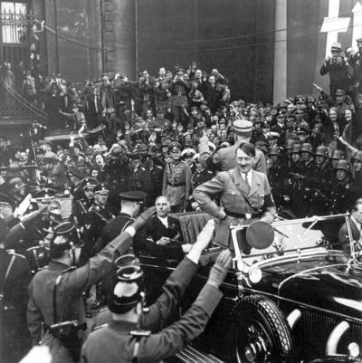 Hitler arrives at youth rally Berlin 1934