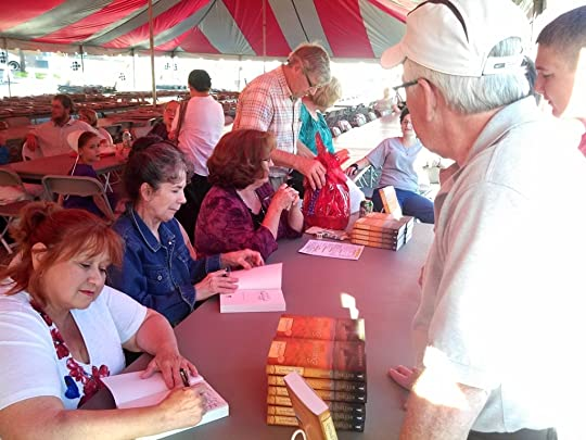 Annie Kitral (who played Aunt Lydia) and Marianna Allachi (who played Aunt Anna) Signing my LFY Sugarcreek books with me :)