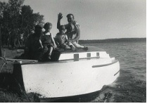 Shelly was the most creative man I���ve ever known��� This is the cabin cruiser he built he in 1949 and we kept it at Lake Minnetonka