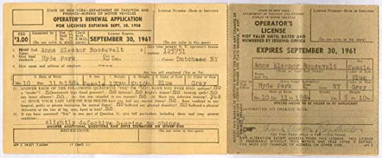 Eleanor Roosevelt's application to renew her driver's license