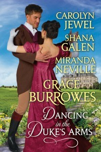 Cover of Dancing in the Duke's Arms, anthology. Cover is a dude in a brown coat and a pretty lady in a burgundy gown which is really pretty. They are dancing and falling in love. You want this book.