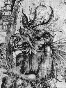 Detail of Satan from The Temptation of Christ, ca. 1500. Engraving, 22.6 x 16.9 cm. C. 150 - via Wikimedia Commons