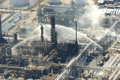 The site of the explosion at BP's Texas City refinery in 2005. The blast flattened a trailer in which Dave Leining was working and left him trapped under a pile of debris